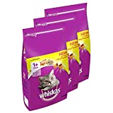 whiskas 1+ Dry Cat Food for Adult Cats with Chicken, 3 Bags (3 x 3.8 kg)