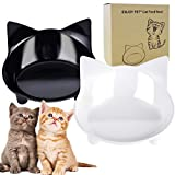 ENJOY PET Cat Bowls Food and Water Bowls Set of 2 Cat Dishes Shallow and Wide for Whisker Fatigue Stress Relief Cute Design Non Skid Feeding Bowls for Cats and Small Dogs