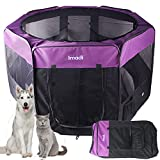 Kaka mall Pet Fence Playpen Cage House Tent Exercise Run for Dog Puppy Cat Rabbit Guinea Pig with 8 Panels Washable (Type B, XXL: 8pcs, per panel 61 x 101 CM, Diameter 161 CM, Purple)