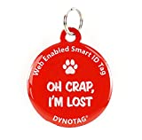 DYNOTAG® Web Enabled QR Code Smart Deluxe Coated Steel Pet Tag (Red: Oh Crap, I'm Lost)