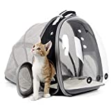 SOURCER Expandable Transparent Cat Carrying Backpack, Space Capsule Bubble Cat Carrier Backpack for Outdoor Hiking and Traveling (Black)