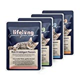 Amazon Brand - Lifelong grainfree wet food for adult cats - Chicken,duck ,turkey and liver meat in broth Selection, 2.4 kg (28 pouches x 85g)