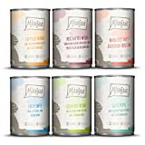 MjAMjAM Natural Wet Cat Food, MIX PACK 3 with Vension & Rabbit, Turkey, Duck & Poultry, Hearts, Chicken, Beef, Grain Free, 6 x 400 g